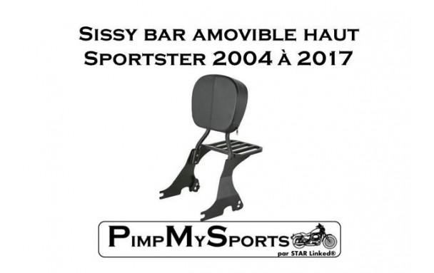 Sissy bar amovible noir pour harley Davidson Sportster