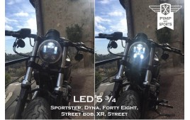 LED headlight 5 3/4 black ECE II